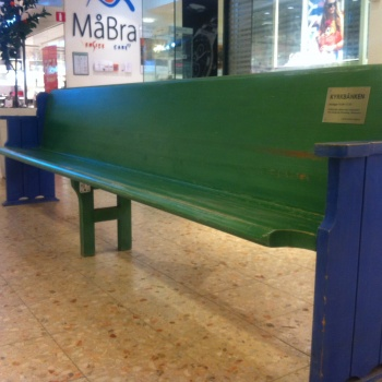 Photo stoRy for today™ –  A church bench in a shopping centre